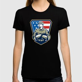 American Soldier Arms Folded Flag Retro T-shirt