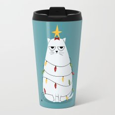 Grumpy Christmas Cat Travel Mug
