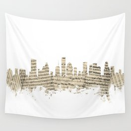 Houston Texas Skyline Sheet Music Cityscape Wall Tapestry