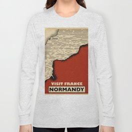 Normandy France Vintage travel print. Long Sleeve T-shirt