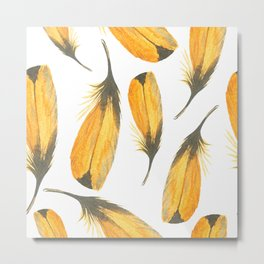 Canary Yellow Seamless Watercolour Feather Pattern Metal Print