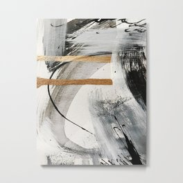 Armor [7]: a bold minimal abstract mixed media piece in gold, black and white Metal Print