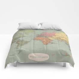 Vintage Map of The World (1889) Comforters