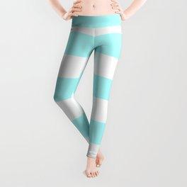 Horizontal Stripes - White and Celeste Cyan Leggings