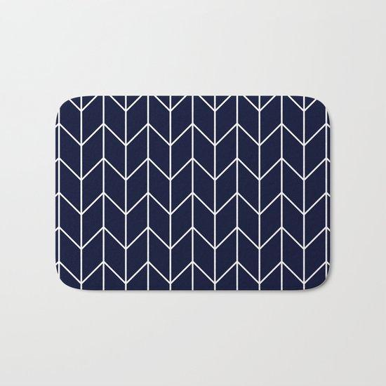 Chevron pattern -  white on darkblue Bath Mat