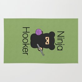 Ninja Hooker (With Text) Rug