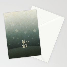 Small winged polka-dotted beige cat and stars Stationery Cards