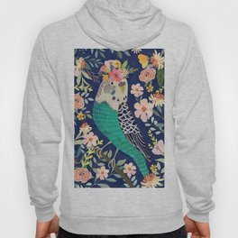 Parakeet with Floral Crown Hoody