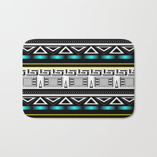 Black and white c turquoise abstract striped pattern . Bath Mat
