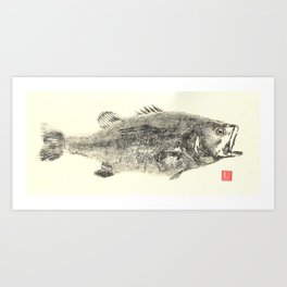 Large Mouth Bass Cream Art Print