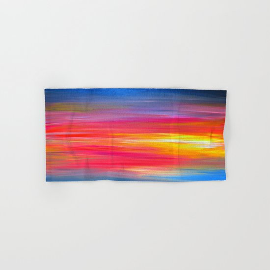 BRIGHT HORIZONS Bold Colorful Rainbow Pink Yellow Blue Abstract Painting Sunrise Sunset Stripes  Hand & Bath Towel