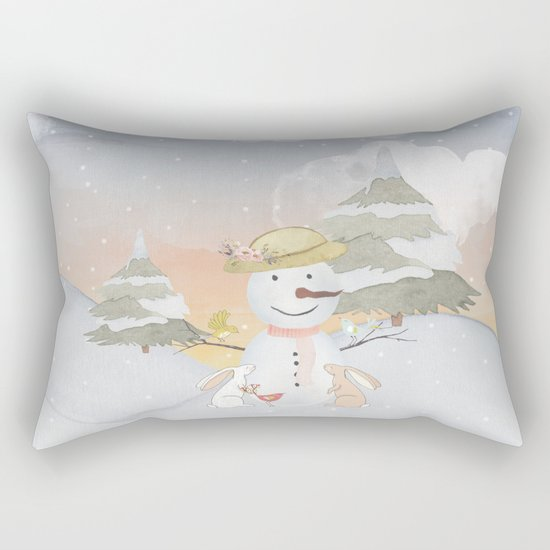 Winter Wonderland- Snowman birds and bunnies - Watercolor illustration Rectangular Pillow