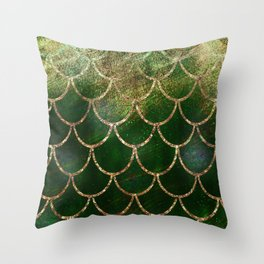 Green & Gold Mermaid Scales Throw Pillow