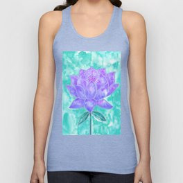 Sacred Lotus – Lavender Blossom on Mint Palette Unisex Tank Top