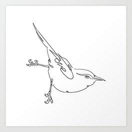One Line Bird with Love Art Print