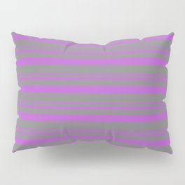 Orchid and Grey Colored Lined Pattern Pillow Sham
