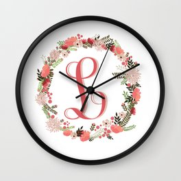 Personal monogram letter 'L' flower wreath Wall Clock