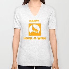 Happy Howl-o-Ween Halloween Werewolf Shirt Unisex V-Neck