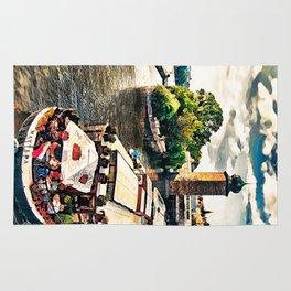 Prague Vltava river cruise watercolor Rug