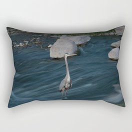 Blue Heron Posing Rectangular Pillow