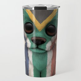 Cute Puppy Dog with flag of South Africa Travel Mug