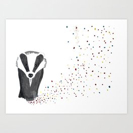 Color Badger illustration Art Print