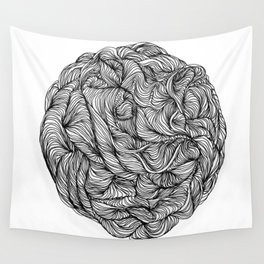 Abstract black and white organic line drawing doodle ball Wall Tapestry