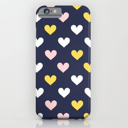 Cute Hearts on Blue Background iPhone Case