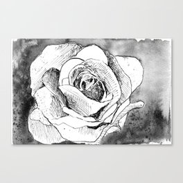 Inked Flower Night Canvas Print