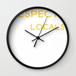 Funny Shark Respect The Locals Tshirt Wall Clock