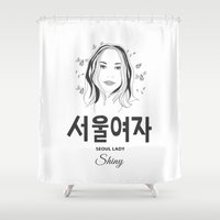 seoul Shower Curtains featuring Seoul lady by uzualsunday
