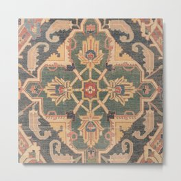 Geometric Leaves VI // 18th Century Distressed Red Blue Green Colorful Ornate Accent Rug Pattern Metal Print