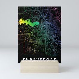 Shreveport, LA, USA, City, Map, Rainbow, Map, Art, Print Mini Art Print