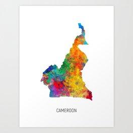 Cameroon Watercolor Map Art Print