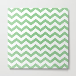 Green Chevron Metal Print