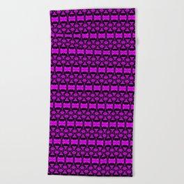 Dividers 02 in Purple over Black Beach Towel