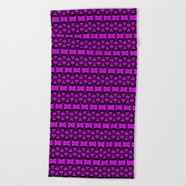 Dividers 02 in Purple over Black Beach Towel