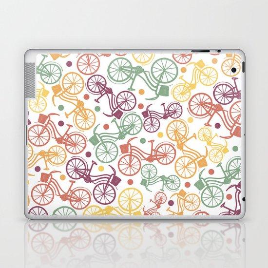 Whimsical bicycle pattern & retro polka dots Laptop & iPad Skin