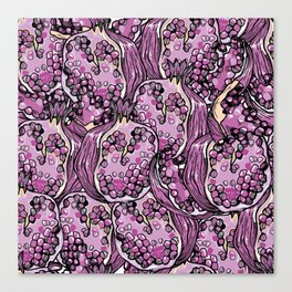 Pomegranate violet fresh seamless pattern! Canvas Print