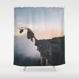 Up in the Clouds-Surreal Levitation Off a Cliff Shower Curtain