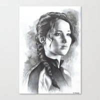katniss Canvas Prints featuring Katniss by Nienke Feirabend