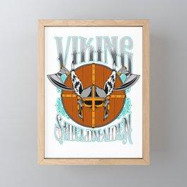 Viking Shield Maiden Female Warrior Framed Mini Art Print