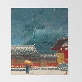 Vintage Japanese Woodblock Print Japanese Red Shinto Shrine Pagoda Winter Snow Throw Blanket