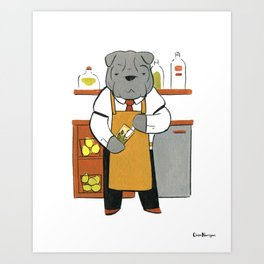 Sharpei Mixologist (Dogs with Jobs series) Art Print