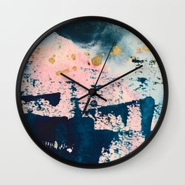 Candyland: a vibrant, colorful abstract piece in blue teal pink and gold by Alyssa Hamilton Art Wall Clock