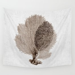 Brown Sea Fan Coral Illustration Nautical Decor Wall Tapestry