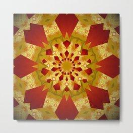 Golden Rays Abstract Mandala Metal Print