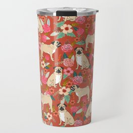 Pug dog breed floral must have cute pugs pure breed pet gifts Travel Mug