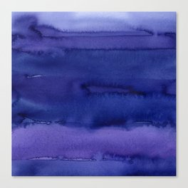 Blue Violet Watercolor Horizontal Stripes Abstract Canvas Print