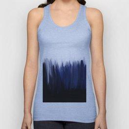 Modern blue cobalt black oil paint brushstrokes abstract Unisex Tank Top